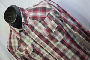 25446-Mens-Levis-Modern-Plaid-Long-Sleeve-Western-Pearl-Snaps-Shirt-Size-Small
