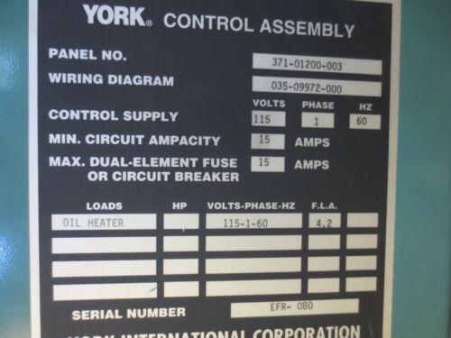 YORK 371-01200-003 CHILLER CONTROL PANEL SCREW YSDBDAS2-CHCS