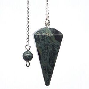 Natural-Green-Kambaba-Jasper-Bonded-Pendulum-Healing-Crystal-Reiki-Dowsing-Tool