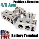 2 x 4/8 Awg Silver Car Auto Positive Negative Set Battery Terminal Platinum