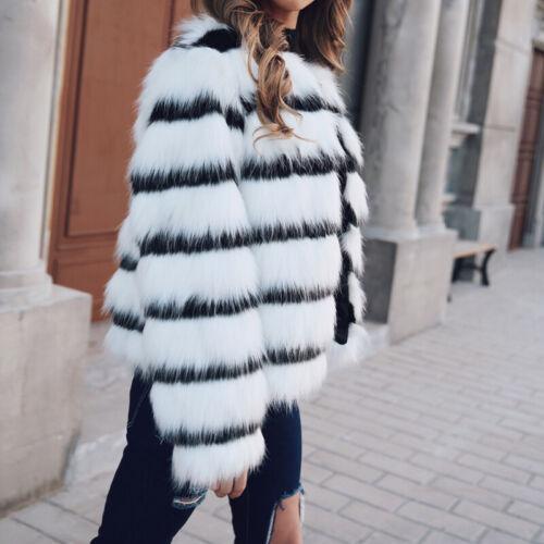 Women Winter Black White Stripe Coat Faux Fur Outwear Overcoat Fashion Warm