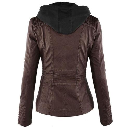 Damen Bikerjacke Kunstlederjacke Lederjacke Kapuzenjacke Solide Jacke Mantel 38