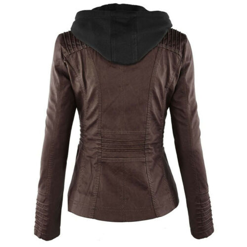 Womens Leather Hooded Jacket Slim Parka Coat Overcoat Trench Warm Winter Outwear
