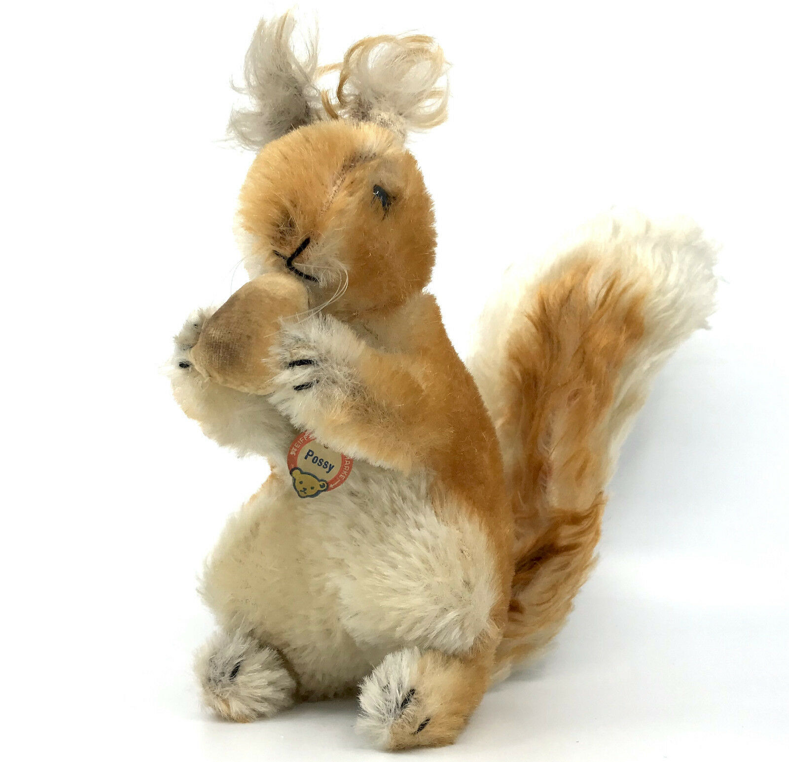 Steiff Possy rosso Squirrel w Nut Mohair Plush 22cm 9in ID Chest Tag 1960s Vintage