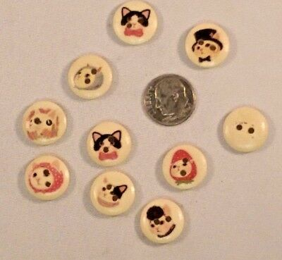 """4272 15mm Scrapbook Craft Lot of 20 COSTUMED CATS 2-hole Wooden Buttons 5//8/"""""""