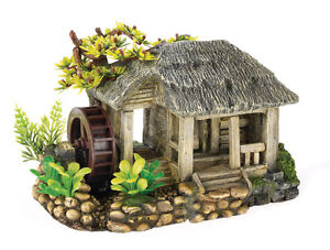 water mill with air operated wheel aquarium ornament fish. Black Bedroom Furniture Sets. Home Design Ideas
