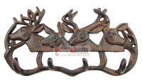 Cast Iron Deer Antler Coat Hanger Rack Key Holder Wall Mount Cabin Lodge 4 Hooks