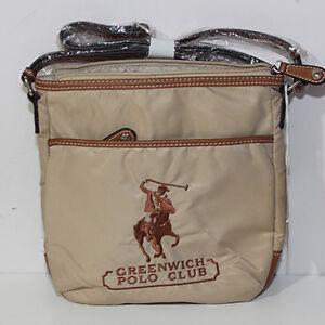 new arrival 1679a f76cb Dettagli su Borsa Tracolla Greenwich Polo Club beige marrone uomo Polo  Ralph Lauren