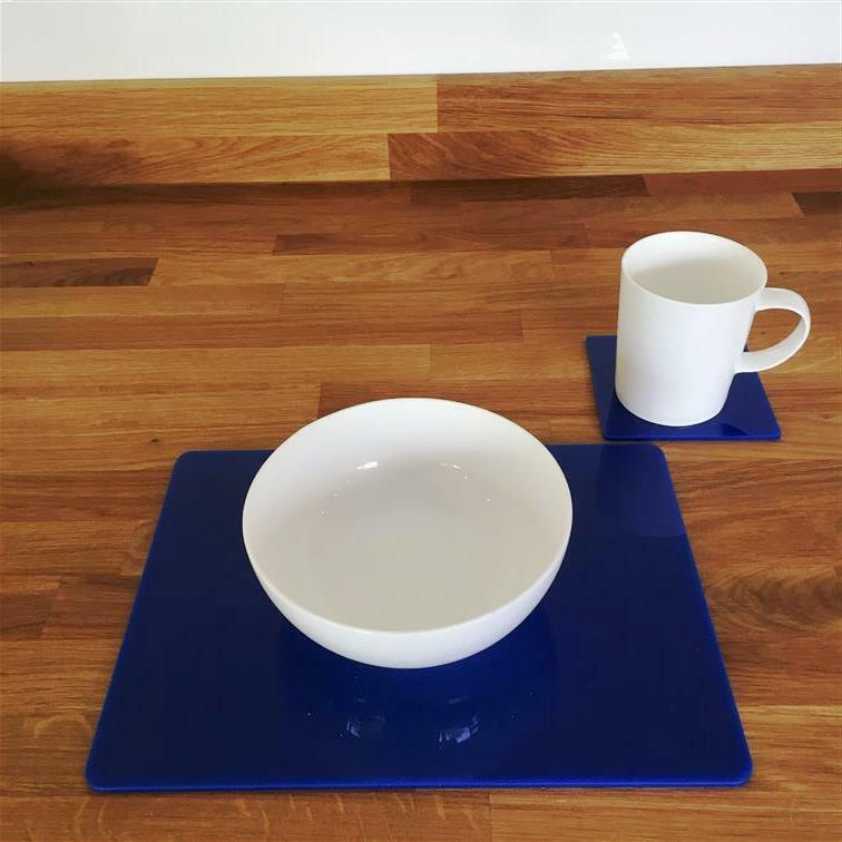 Rectangular Placemat and Square Coaster Set - bluee