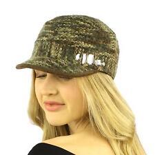 Ladies Winter Bling Bling Gem Woven Knit Cadet Castro GI Visor Cap Hat Olive