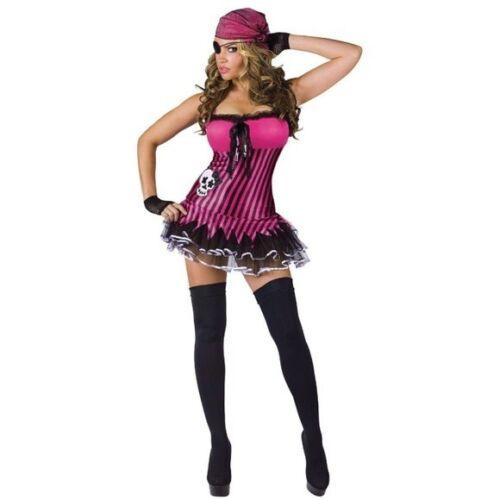 New Size 10-14 M//L Pink /& Black. Fantasy Ladies Rockin Skull Pirate Costume
