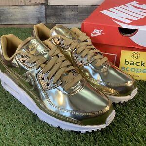 UK6-Nike-Air-Max-90-Metallic-Liquid-Metal-Pack-Gold-Trainers-Retro-Classic