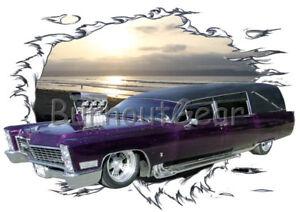 1967 Purple Blown Cadillac Hearse Custom Hot Rod SS T-Shirt 67 Muscle Car Tee's