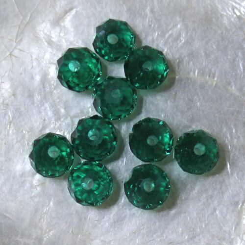 10 CITROUILLES VERT ÉMERAUDE 4 X 6 MM Cristal de Bohême