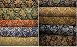 Fabric-sold-by-yard-Upholstery-Drapery-Chenille-classic-Damask-design-60-034-Wide