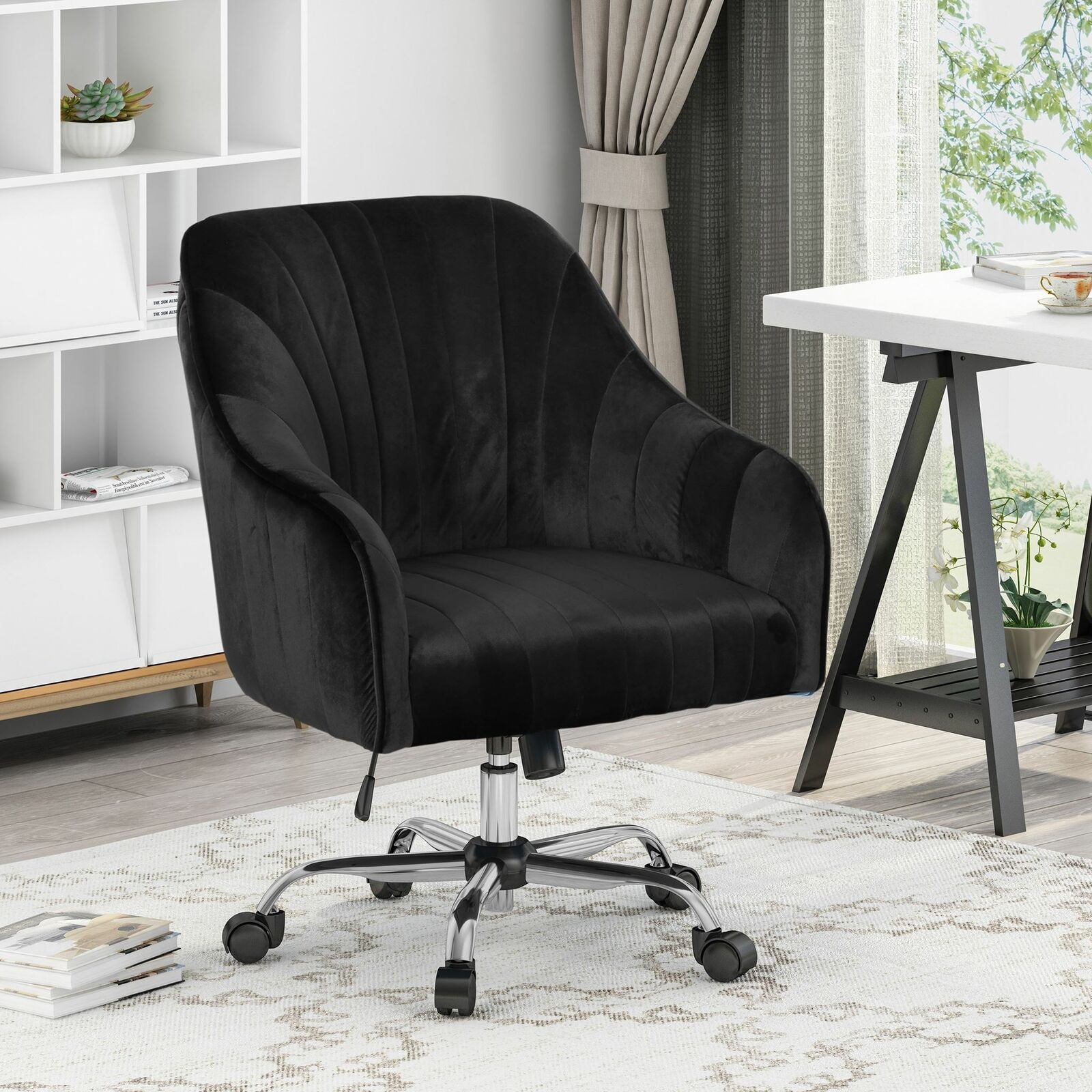 Channeled Glam Velvet Home Office Chair With Swivel Base By Black Silver Finish For Sale Online Ebay