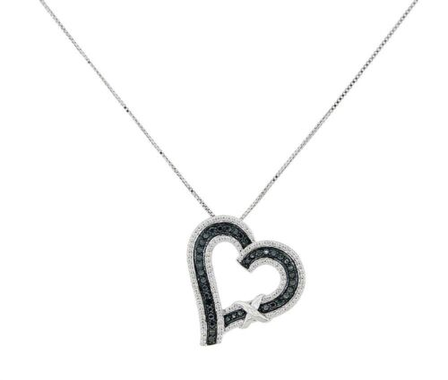 """Natural Diamond Black /& White Heart Shape Pendant Sterling Silver with 18/"""" chain"""