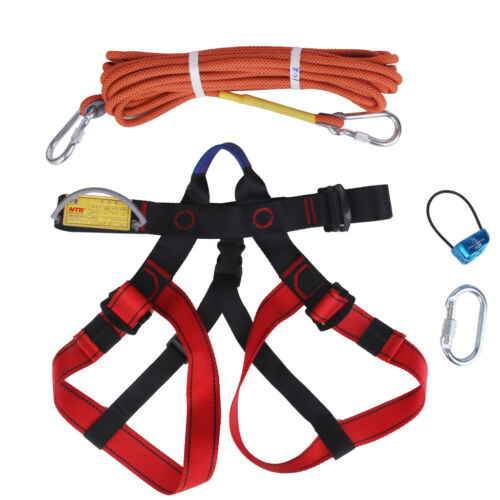 1 Set Rock Climbing Abseil Gear Belay device Sitting Harness Carabiner Rope