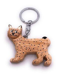 Lince-Leopardo-Guepardo-Depredador-Madera-Noble-Handmade-Llavero-Colgante