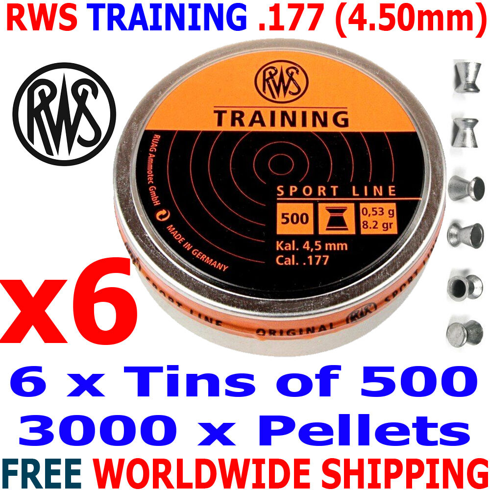 RWS TRAINING .177 4.50mm Airgun Pellets Pellets Airgun 6 (tins)x500pcs (10m RIFLE) 0,53g bc2f38