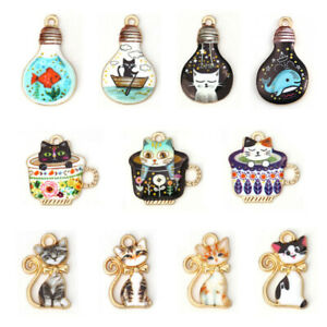 10Pcs Teacup Cat Enamel Charms Pendants For DIY Necklace Jewelry Making Findings