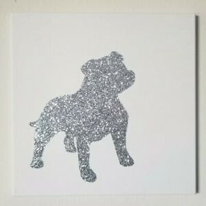 Details about Silver Glitter Dogs Bling Pitbull Canvas Wall Art Decor 14x14