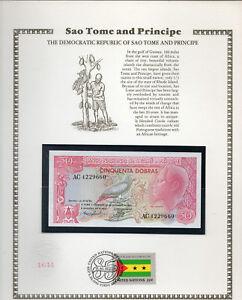 St-Thomas-Sao-Tome-50-Dobras-1982-P56-Prefix-AC-UNC-w-FDI-UN-FLAG-STAMP