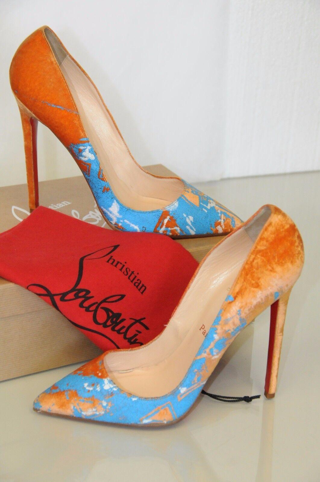 Neu Christian Louboutin Pigalle 120 Orange Velvet Blau Bemalt Schuhe 41.5 Selten
