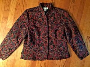 COLDWATER-CREEK-Tapestry-Paisley-Multi-Color-JACKET-Coat-Blazer-WOMENS-SIZE-L