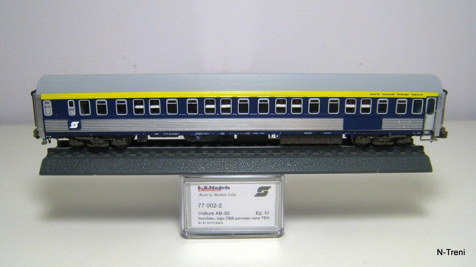 LsModels N 77002-2 - Carrozze letto WLAB-30 ÖBB, cassa inox, livrea blu gialla