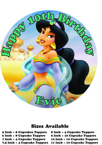 Princess Jasmine Personalised Edible Wafer Icing Cake Topper Costco upto A3