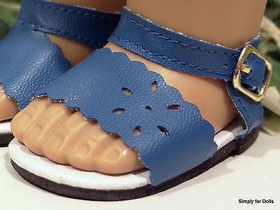 "**SALE** MEDIUM BLUE Flower-Cut DOLL SANDALS SHOES fits 18"" AMERICAN GIRL"