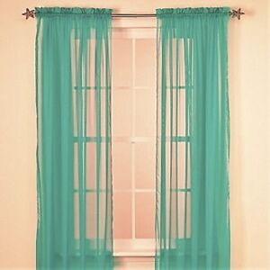 Solid Teal Green 2 Panels Soft Sheer Voile Window Curtain Treatment 55 X 63 Ebay