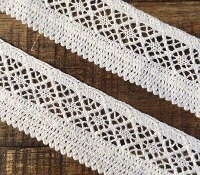 """laverslace White Lilac Purple Floral Cotton Cluny Crochet Lace Trim 1.75/""""//4cm"""