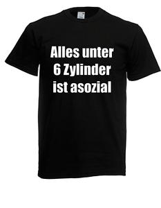 Das Bild wird geladen Herren-T-Shirt-Alles-unter-6-Zylinder-ist-