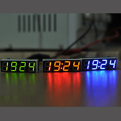 Car Electronic Clock,DC4.5V-30V Waterproof Dustproof LED Digital Display Car Auto Electronic Clock Green