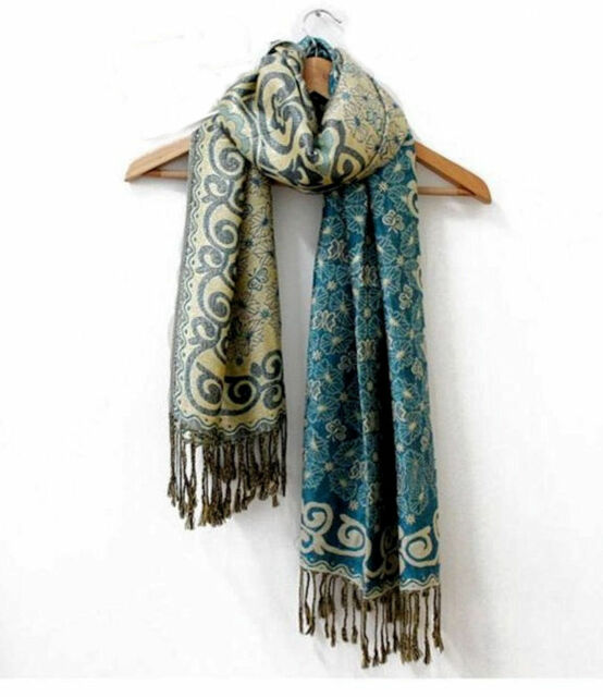 MOTHERS DAY GIFT Lady's Reversible Scarf Shawl - Teal & Gold Pashmina FREE POST