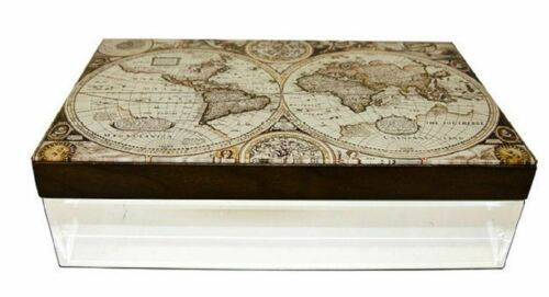 GLASS AND WOOD JEWELLERY BOX WITH ANTIQUE OLD WORLD MAP DESIGN RM00248J