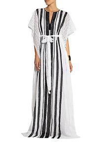 Neuf-Oscar-de-la-Renta-Noir-Blanc-Crochet-Coton-Caftan-Caftan-Robe