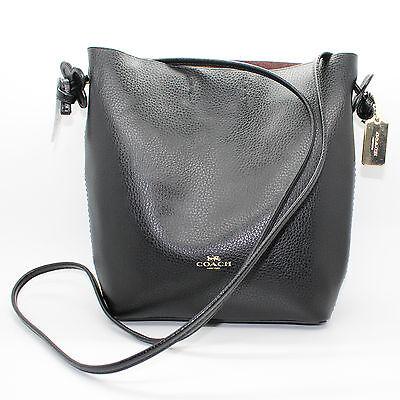 COACH Derby Crossbody Pebble Leather Black Handbag Purse