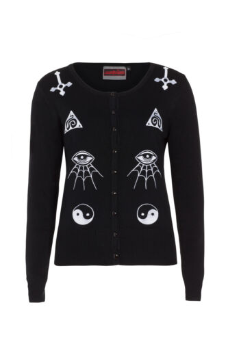 JAWBREAKER GOTHIC ILLUMINATI OCCULT SYMBOLS WICCA WITCH CARDIGAN SWEATER CAA2928