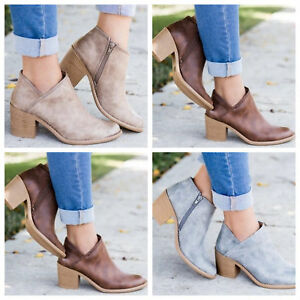 Women Block Mid Heel Ankle Boots Ladies Pointed Toe Chunky Booties Chelsea Shoes