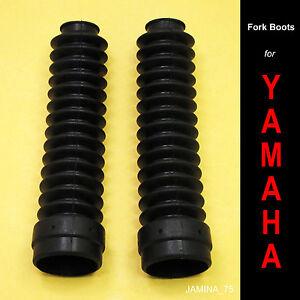 Yamaha-DT100-DT125-DT175-DT250-enduro-caoutchouc-noir-fourche-avant-bottes-tubes-paire