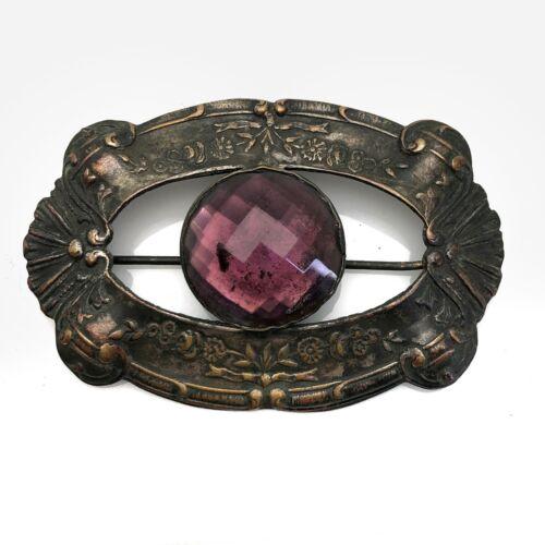 Extra Wide Antique Art Nouveau Gold /& Purple Glass Open Back Emerald Cut Stones Scrolling Panel Bracelet