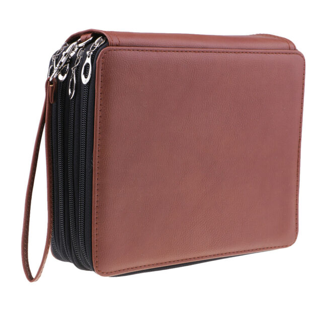 160 Slot PU Leather Wrap Case For Colored Pencil Comestic Stationery brown zh88