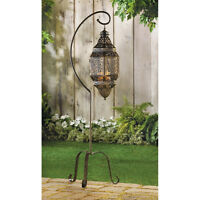 Set Of 2 Moroccan Style Candle Holder Lantern With Stand Iron 41 Tall 12575
