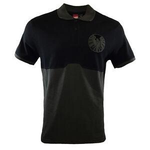 AVENGERS-MARVEL-Mens-Polo-Shirt-SHIELD-Embroidered-Eagle-Comics-Logo-NEW-BLACK