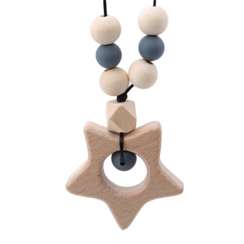 Star//Heart//Flower Silicone Baby Teething Necklace Pendant Mum /& Baby Jewelry LH