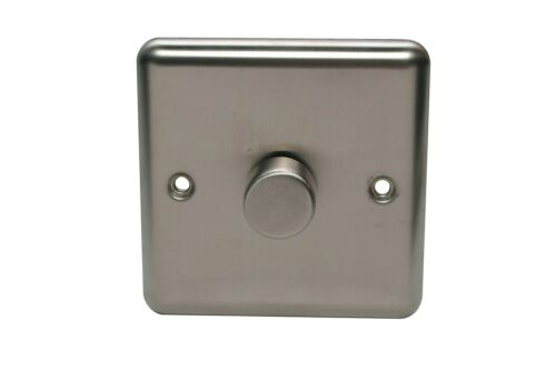 Sold by B /& Q Holder 2 way Single Steel effect Dimmer switch NEW !