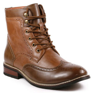 metrocharm met52512 brown men's lace up wing tip fashion